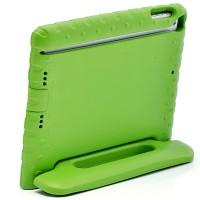 Ударостойкий детский силиконовый матовый гиппоаллергенный непрозрачный чехол с встроенной ножкой-подставкой для Ipad Air Зеленый