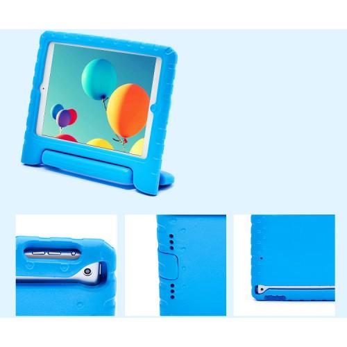 Ударостойкий детский силиконовый матовый гиппоаллергенный непрозрачный чехол с встроенной ножкой-подставкой для Ipad Air