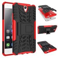 Противоударный двухкомпонентный силиконовый матовый непрозрачный чехол с поликарбонатными вставками экстрим защиты с встроенной ножкой-подставкой для Lenovo Vibe S1 Lite  Красный