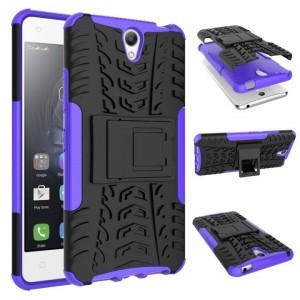 Противоударный двухкомпонентный силиконовый матовый непрозрачный чехол с поликарбонатными вставками экстрим защиты с встроенной ножкой-подставкой для Lenovo Vibe S1 Lite Фиолетовый