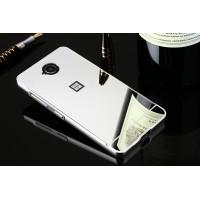 Двухкомпонентный чехол c металлическим бампером с поликарбонатной накладкой и зеркальным покрытием для Microsoft Lumia 650  Белый