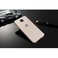 Двухкомпонентный чехол c металлическим бампером с поликарбонатной накладкой для Microsoft Lumia 650 Бежевый