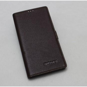 Кожаный чехол горизонтальная книжка подставка (премиум нат. кожа) с крепежной застежкой для Sony Xperia X Performance