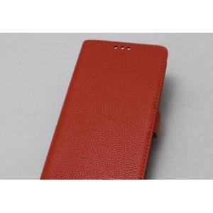 Кожаный чехол горизонтальная книжка подставка (премиум нат. кожа) с крепежной застежкой для Sony Xperia X Performance  Оранжевый