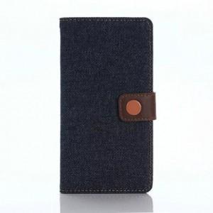 Чехол портмоне подставка на пластиковой основе с тканевым покрытием на дизайнерской магнитной защелке для Sony Xperia X Performance