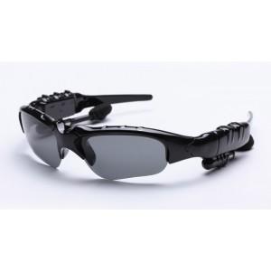 Спортивные солнцеветрозащитные нескользящие поляризационные очки с набором сменных линз (желтые, коричневые, серые) и bluetooth 4.1 стереогарнитурой с кнопками управления