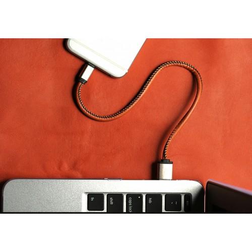 Кабель USB 2.0-Lightning 0.3м в кожаной оплетке формат Брелок