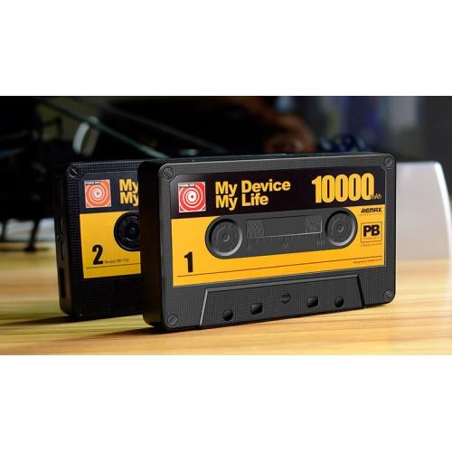 Портативное зарядное устройство 10000 mAh с 2 разъемами, индикацией заряда и LED-фонариком формат Кассета