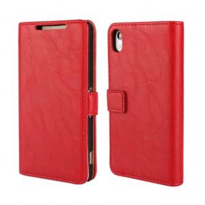 Винтажный чехол портмоне подставка на пластиковой основе на магнитной защелке для Sony Xperia Z2 Красный