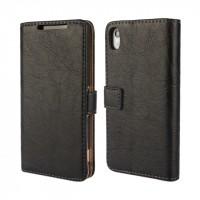 Винтажный чехол портмоне подставка на пластиковой основе на магнитной защелке для Sony Xperia Z2 Черный