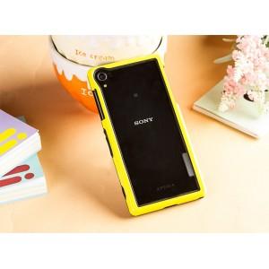Двухкомпонентный силиконовый матовый непрозрачный чехол с поликарбонатным бампером для Sony Xperia Z2  Желтый