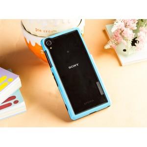 Двухкомпонентный силиконовый матовый непрозрачный чехол с поликарбонатным бампером для Sony Xperia Z2  Голубой