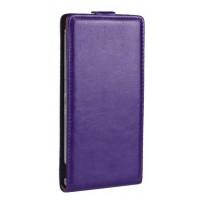 Глянцевый чехол вертикальная книжка на пластиковой основе на магнитной защелке для Sony Xperia Z2 Фиолетовый