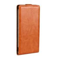 Глянцевый чехол вертикальная книжка на пластиковой основе на магнитной защелке для Sony Xperia Z2 Оранжевый