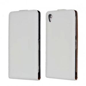 Чехол вертикальная книжка на пластиковой основе на магнитной защелке для Sony Xperia Z2  Белый