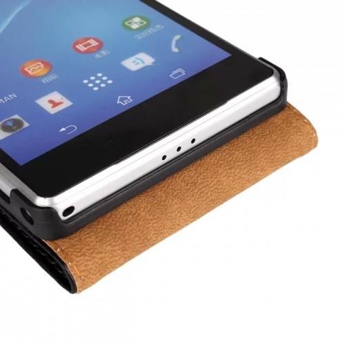 Чехол вертикальная книжка на пластиковой основе на магнитной защелке для Sony Xperia Z2