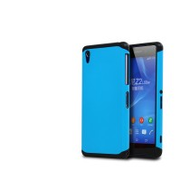 Противоударный двухкомпонентный силиконовый матовый непрозрачный чехол с поликарбонатными вставками экстрим защиты для Sony Xperia Z2 Голубой