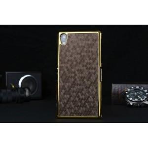 Пластиковый непрозрачный матовый чехол с текстурным покрытием Кожа для Sony Xperia Z2  Коричневый
