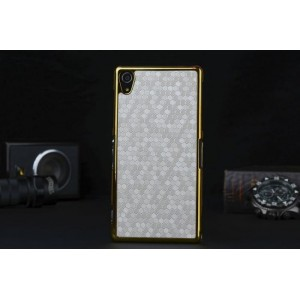 Пластиковый непрозрачный матовый чехол с текстурным покрытием Кожа для Sony Xperia Z2  Белый