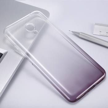 Силиконовый матовый полупрозрачный градиентный чехол для Meizu M3s Mini Черный