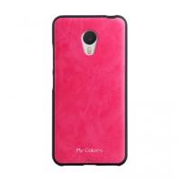 Силиконовый матовый непрозрачный чехол с текстурным покрытием Кожа для Meizu M3s Mini Розовый