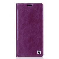 Вощеный чехол горизонтальная книжка подставка на пластиковой основе с отсеком для карт для Sony Xperia M4 Aqua  Фиолетовый