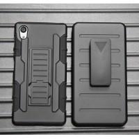 Противоударный двухкомпонентный силиконовый матовый непрозрачный чехол с поликарбонатными вставками, клипсой для ремня и встроенной ножкой-подставкой для Sony Xperia M4 Aqua  Черный