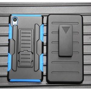 Противоударный двухкомпонентный силиконовый матовый непрозрачный чехол с поликарбонатными вставками, клипсой для ремня и встроенной ножкой-подставкой для Sony Xperia M4 Aqua