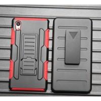 Противоударный двухкомпонентный силиконовый матовый непрозрачный чехол с поликарбонатными вставками, клипсой для ремня и встроенной ножкой-подставкой для Sony Xperia M4 Aqua  Красный