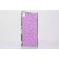 Пластиковый непрозрачный матовый чехол с металлическим напылением и стразами для Sony Xperia M4 Aqua  Розовый