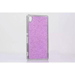 Пластиковый непрозрачный матовый чехол с металлическим напылением и стразами для Sony Xperia M4 Aqua