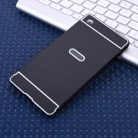 Двухкомпонентный чехол c металлическим бампером с поликарбонатной накладкой для Sony Xperia M4 Aqua  Черный