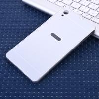 Двухкомпонентный чехол c металлическим бампером с поликарбонатной накладкой для Sony Xperia M4 Aqua  Белый