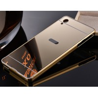Двухкомпонентный чехол c металлическим бампером с поликарбонатной накладкой и зеркальным покрытием для Sony Xperia M4 Aqua  Бежевый