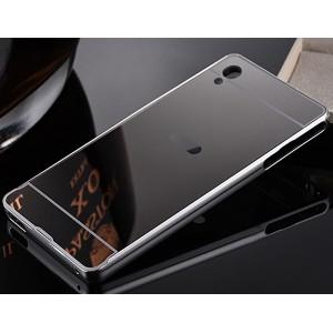 Двухкомпонентный чехол c металлическим бампером с поликарбонатной накладкой и зеркальным покрытием для Sony Xperia M4 Aqua  Серый