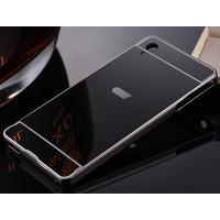 Двухкомпонентный чехол c металлическим бампером с поликарбонатной накладкой и зеркальным покрытием для Sony Xperia M4 Aqua  Черный