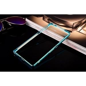 Металлический округлый бампер на пряжке с золотой окантовкой для Sony Xperia M4 Aqua