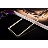 Металлический округлый бампер на пряжке с золотой окантовкой для Sony Xperia M4 Aqua  Белый