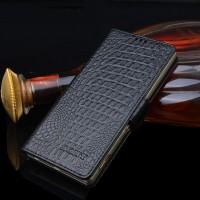 Кожаный чехол портмоне подставка (премиум нат. кожа крокодила) с крепежной застежкой для Sony Xperia M4 Aqua  Черный