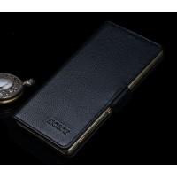 Кожаный чехол портмоне подставка (премиум нат. кожа) с крепежной застежкой для Sony Xperia M4 Aqua Черный