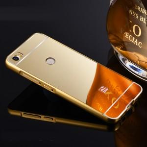 Двухкомпонентный чехол c металлическим бампером с поликарбонатной накладкой и зеркальным покрытием для Xiaomi Mi Max  Бежевый