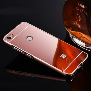 Двухкомпонентный чехол c металлическим бампером с поликарбонатной накладкой и зеркальным покрытием для Xiaomi Mi Max  Розовый