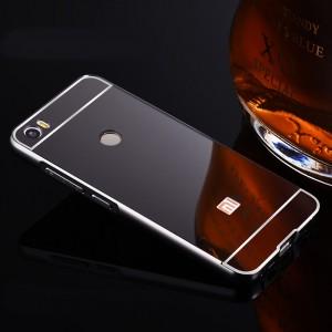 Двухкомпонентный чехол c металлическим бампером с поликарбонатной накладкой и зеркальным покрытием для Xiaomi Mi Max  Черный