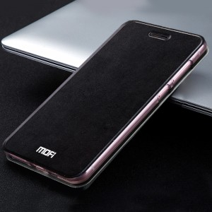 Чехол горизонтальная книжка подставка текстура Металлик на силиконовой основе для Xiaomi Mi Max  Черный