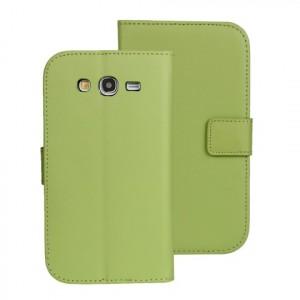 Чехол портмоне подставка на пластиковой основе на магнитной защелке для Samsung Galaxy Grand Зеленый