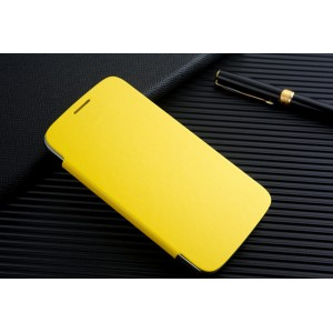 Чехол горизонтальная книжка на пластиковой встраиваемой основе для Samsung Galaxy Grand  Желтый