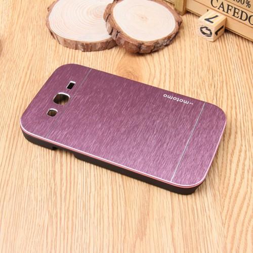 Пластиковый непрозрачный матовый чехол текстура Металл для Samsung Galaxy Grand
