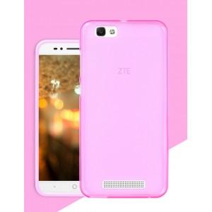 Силиконовый матовый полупрозрачный чехол для ZTE Blade A610 Розовый