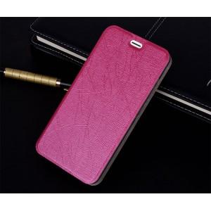 Чехол горизонтальная книжка подставка текстура Линии на силиконовой основе для ZTE Blade A510 Розовый