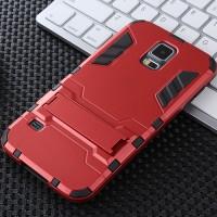 Противоударный двухкомпонентный силиконовый матовый непрозрачный чехол с поликарбонатными вставками экстрим защиты с встроенной ножкой-подставкой для Samsung Galaxy S5 (Duos) Красный